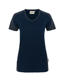 Damenshirt in Tinte mit Kontrastensatz