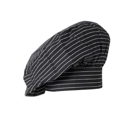 GREIFF - style 5700 französiche Kochmütze in schwarz-weiß gestreift - 2er Pack