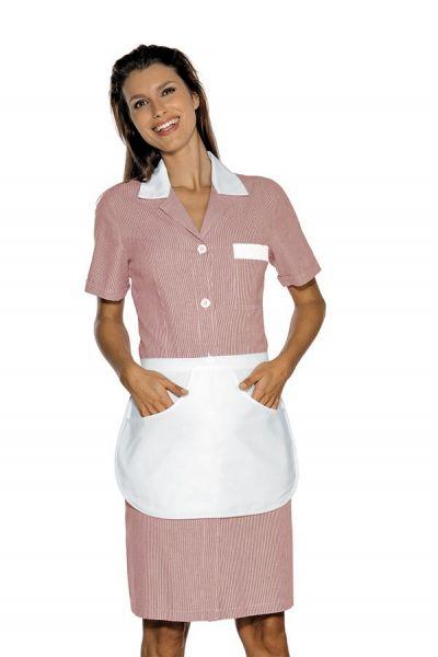 Zimmermädchenkleid bordeaux gestreift mit Schürze Positano isacco
