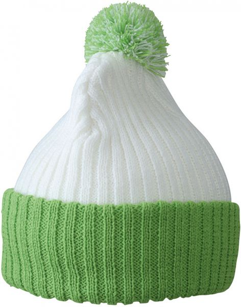 Strickmütze mit Bommel – white/lime-green