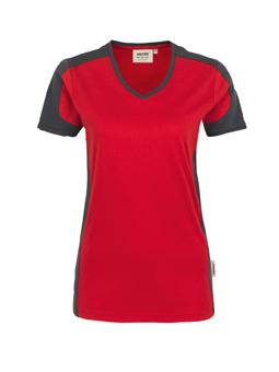 Damenshirt in Rot mit Kontrastensatz