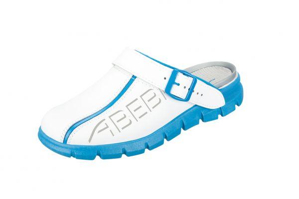ABEBA dynamic Clog 7312 weiß/blau mit Aufdruck