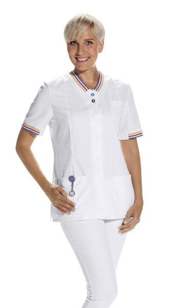 LEiBER Hosenkasack 08-2536 halbarm in weiß mit farbigen Druckknöpfen