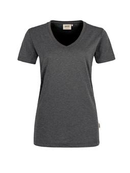 Damen Shirt in Anthrazit meliert mit V-Ausschnitt