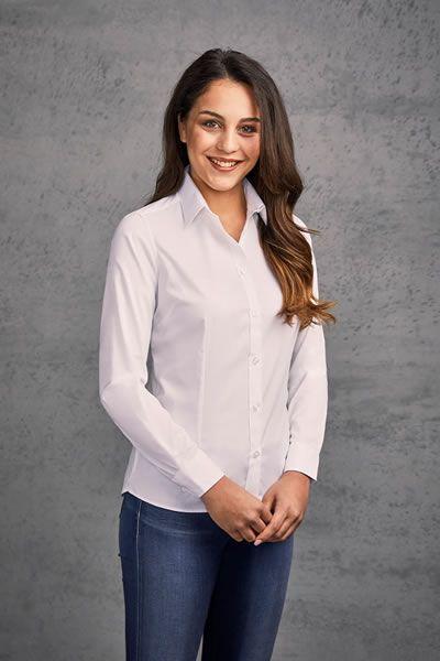 Klassische Langarm-Oxford Bluse für Frauen | Promodoro 6915