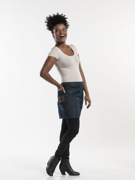 Jeans Schürze blue denim - Vorbinder 90 x 40 cm - mit Rückentasche
