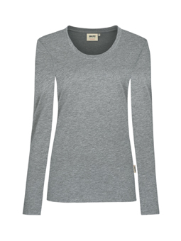 Damen Shirt langarm in Grau meliert