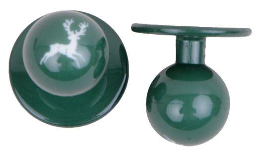 Exner Kugelknöpfe grün mit Hirsch - 1 Pack mit 12 Stück