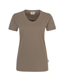 Damen Shirt in Nougat mit V-Ausschnitt