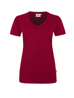 Damen Shirt in Weinrot mit V-Ausschnitt