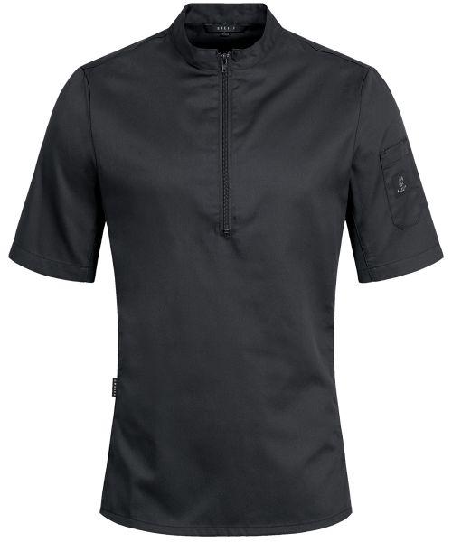 Kochshirt schwarz mit Jerseyeinsatz slim fit | GREIFF Premium 5574