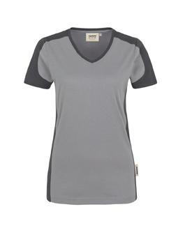 Damenshirt in Titan mit Kontrastensatz