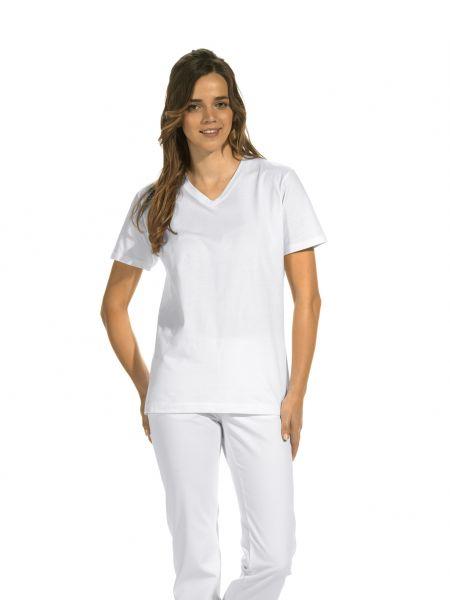 LEiBER unisex V-Ausschnitt Tshirt 08-2448 in weiß