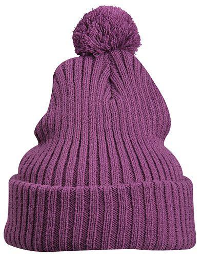 Strickmütze mit Bommel – purple