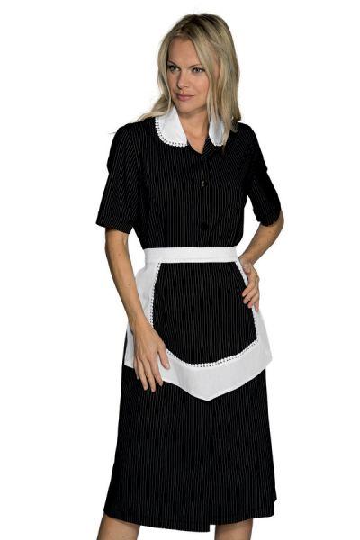 Modernes Zimmermädchenkleid Hauskleid Antille schwarz Nadelstreifen | isacco 007351M