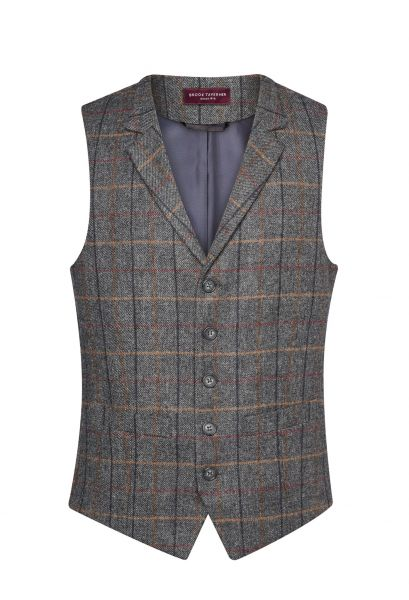 Herrenweste Tweed in Grau/Braun