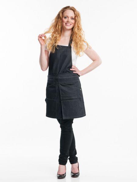 Jeans Schürze black denim - Latzschürze 80 x 70 cm