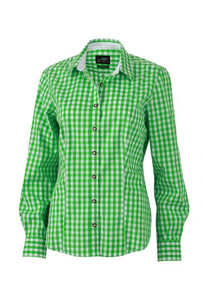 Damen Bluse green-white Tradition Daiber