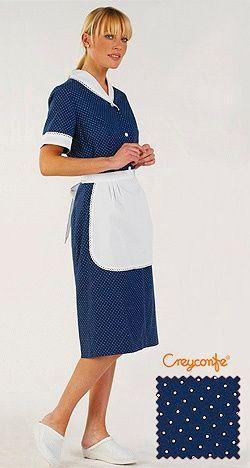 Zimmermädchenkleid blau gepunktet Huelva Creyconfe