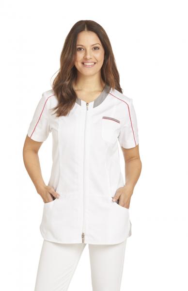 Kasack für Damen in Weiß mit kurzem Arm