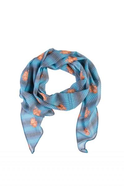 GREIFF - style 6916 bedruckter Schal 140x30 blau/orange Blume