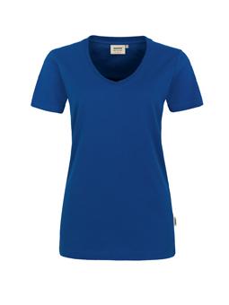 Damen Shirt in Ultramarinblau mit V-Ausschnitt