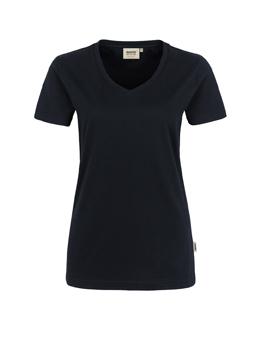 Damen Shirt in Schwarz mit V-Ausschnitt