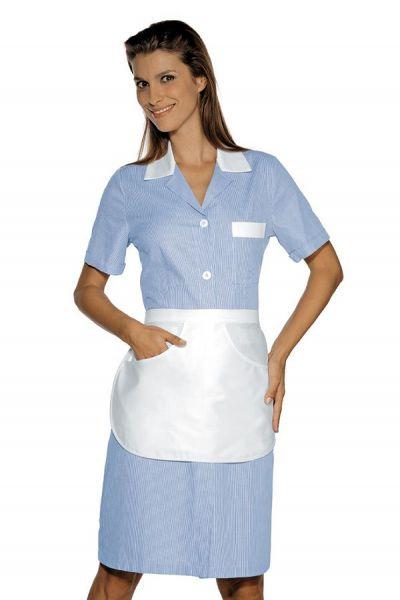 Zimmermädchenkleid hellblau gestreift mit Schürze Positano isacco