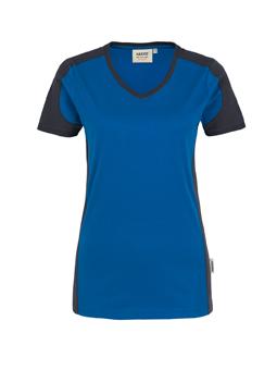Damenshirt in Royalblau mit Kontrastensatz