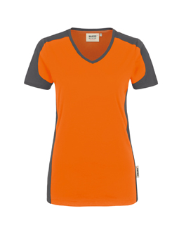 Damenshirt in Orange mit Kontrastensatz