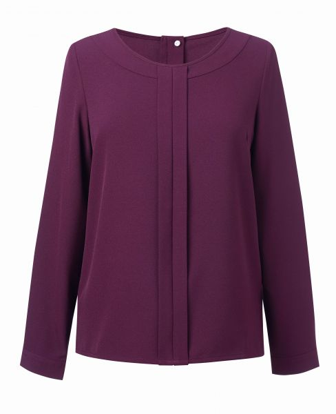 Damenbluse Crepe de Chine Business langarm bordeaux
