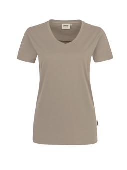 Damen Shirt in Khaki mit V-Ausschnitt