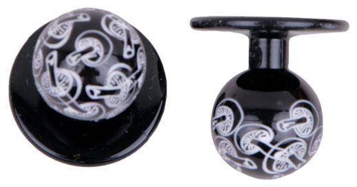Exner Kugelknöpfe schwarz mit Pilzen - 1 Pack mit 12 Stück