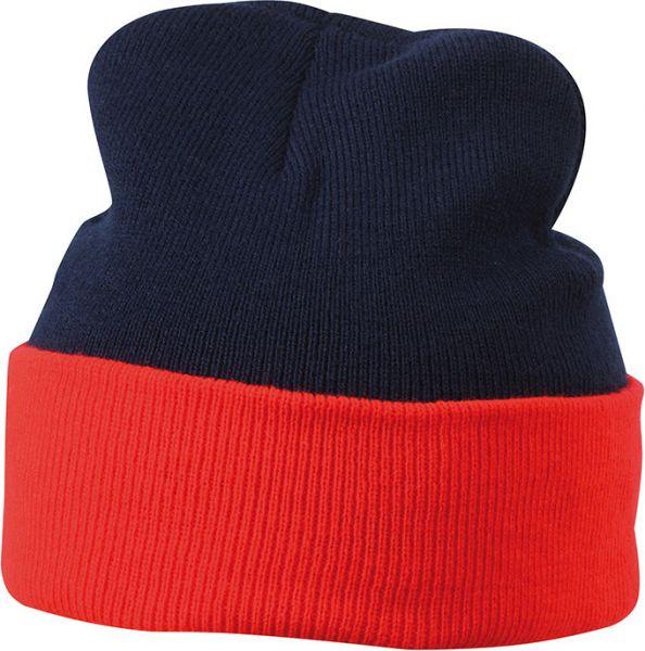 Klassische Strickmütze mit Umschlag navy/red