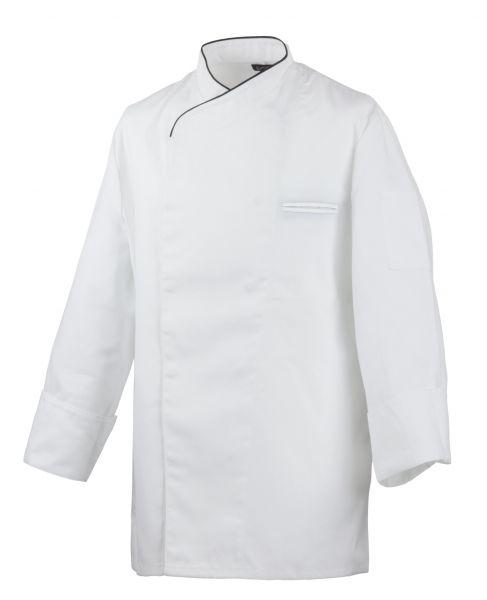 Exner Kochjacke weiß mit verdeckter Knopfleiste und schwarzem Paspel