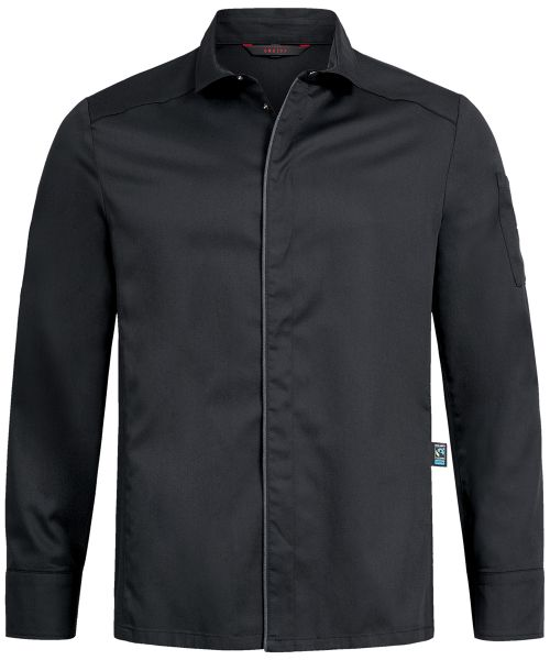 Herren Kochhemd schwarz mit Jerseyeinsatz regular fit   GREIFF Premium 5585