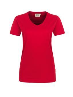 Damen Shirt in Rot mit V-Ausschnitt