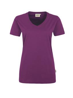 Damen Shirt in Aubergine mit V-Ausschnitt