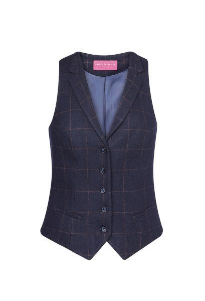 Damenweste Tweed in marine / karomuster