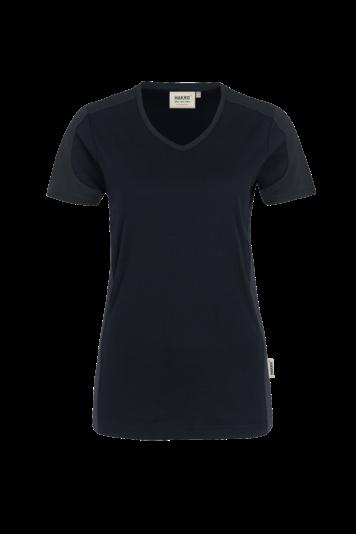 Damen V-Shirt Performance - Contrast - V-Ausschnitt, Mikralinar & große Farbauswahl | HAKRO 190