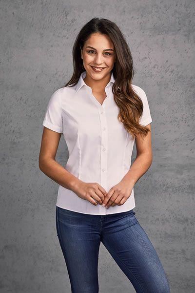 Klassische Kurzarm-Oxford Bluse für Frauen | Promodoro 6905