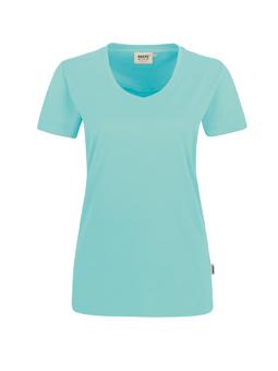 Damen Shirt in Eisgrün mit V-Ausschnitt