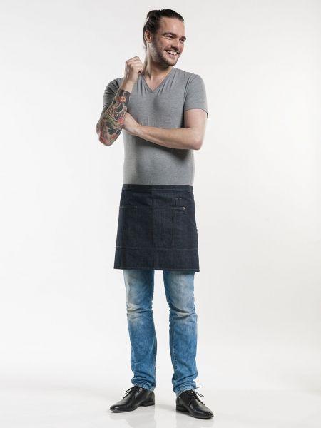 Jeans Schürze blue denim - Vorbinder 90 x 40 cm - mit Tasche