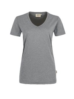 Damen Shirt in Grau meliert mit V-Ausschnitt
