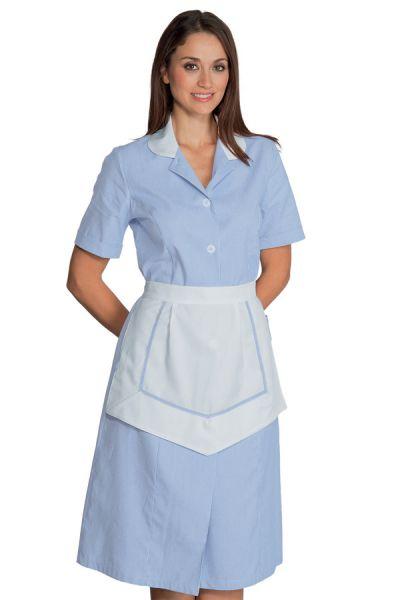 Modernes Zimmermädchenkleid Hauskleid Lipari blau/weiß kurzarm | isacco 07362