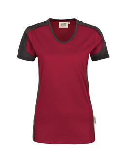 Damenshirt in Weinrot mit Kontrastensatz