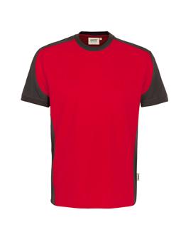 Herrenshirt in Rot mit Kontrastensatz