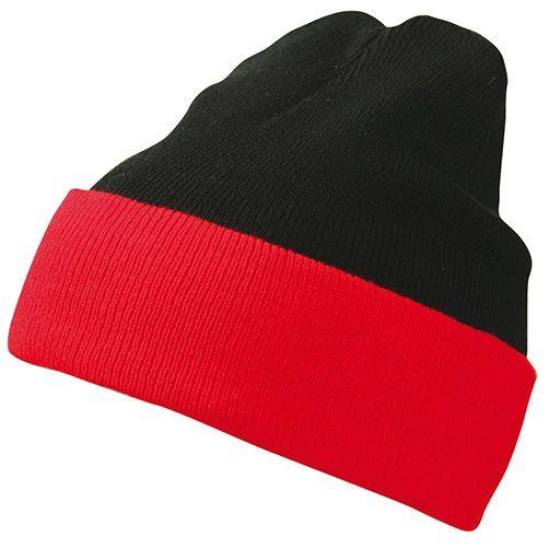 Klassische Strickmütze mit Umschlag black/red