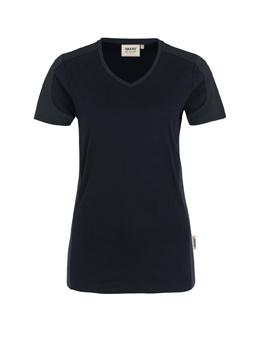 Damenshirt in Schwarz mit Kontrastensatz