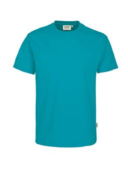 Herren Shirt in Smaragd mit Rundhals-Ausschnitt